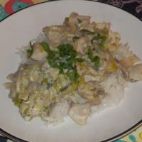Strogonow z kurczaka i pora