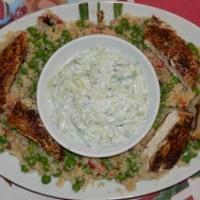 Kurczak po grecku z kuskusem i tzatzikami
